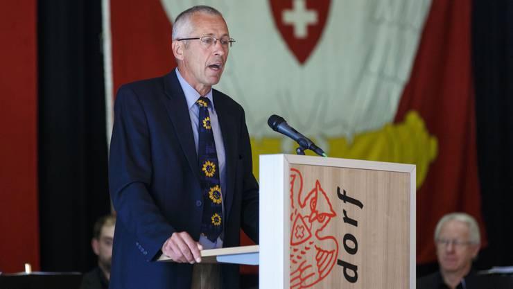 Peter Brügger, Präsident des kantonalen Bauernverbands, bei seiner Ansprache