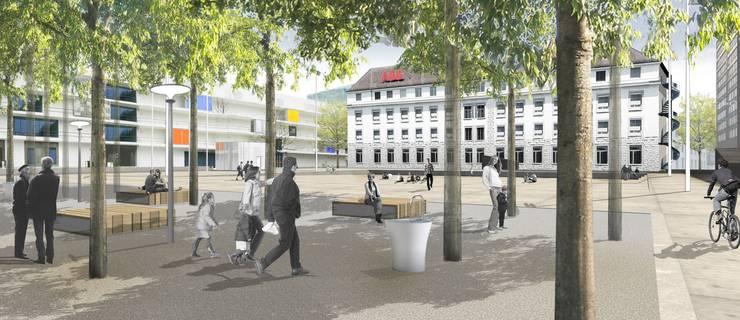 von Bbz Landschaftsarchitekten, Bern, (6. Rang) setzt die Bäume als Platzabschluss