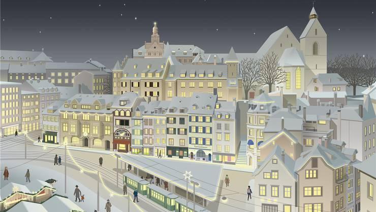 Basel ist in Adventsstimmung, wie auf dieser Illustration des hörbaren Adventskalenders «Adventsbänkli».
