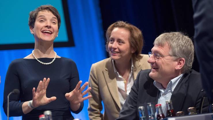 Feixende AfD-Parteispitze: Frauke Petry (Co-Chefin), Vize Beatrix von Storch und Parteichef Jörg Meuthen. MARIJAN MURAT/Key