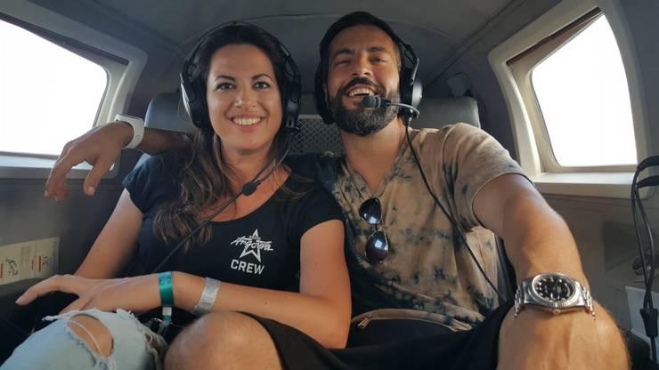 Über den Wolken... mit Ramona und Bligg auf dem Rundflug über dem Birrfeld.