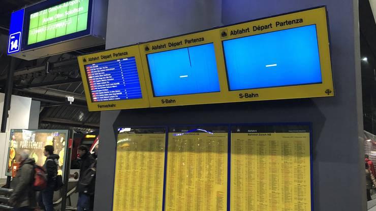 Hauptbahnhof Zürich: Die Informationsanlagen sind teilweise ausgefallen.