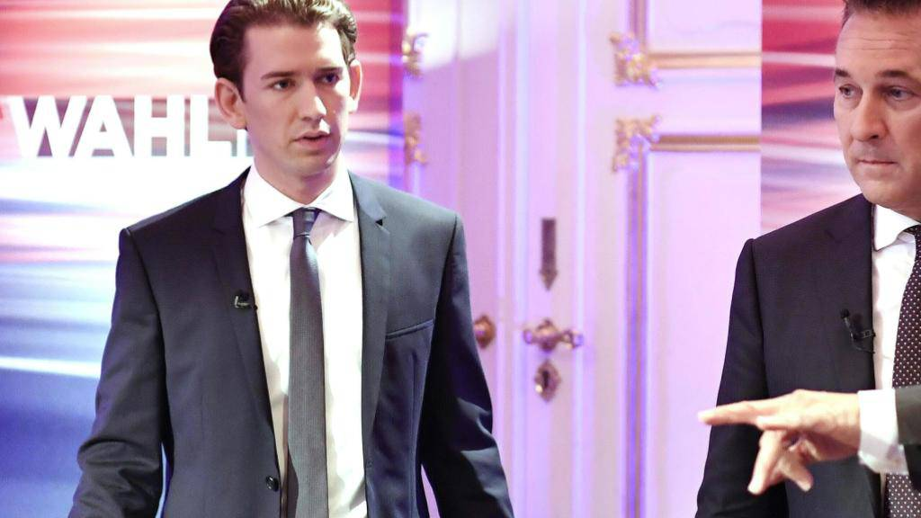 Die Sieger des Wahlsonntags in Österreich: ÖVP-Chef Kurz (l.) dürfte bald mit der Bildung einer neuen Regierung beauftragt werden, eine Einigung mit der FPÖ unter Strache (r.) ist gut möglich. Dies wäre ein massiver Rechtsrutsch mit Auswirkungen bis in die EU.