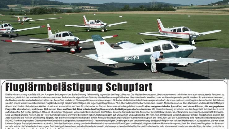 Die Flugzeuge und ihre Lärmemissionen sorgen in Schupfart weiterhin für rote Köpfe - aktuell ein neues Inserat im Regionalblatt mit dem TItel «Fluglärmbelästigung Schupfart».