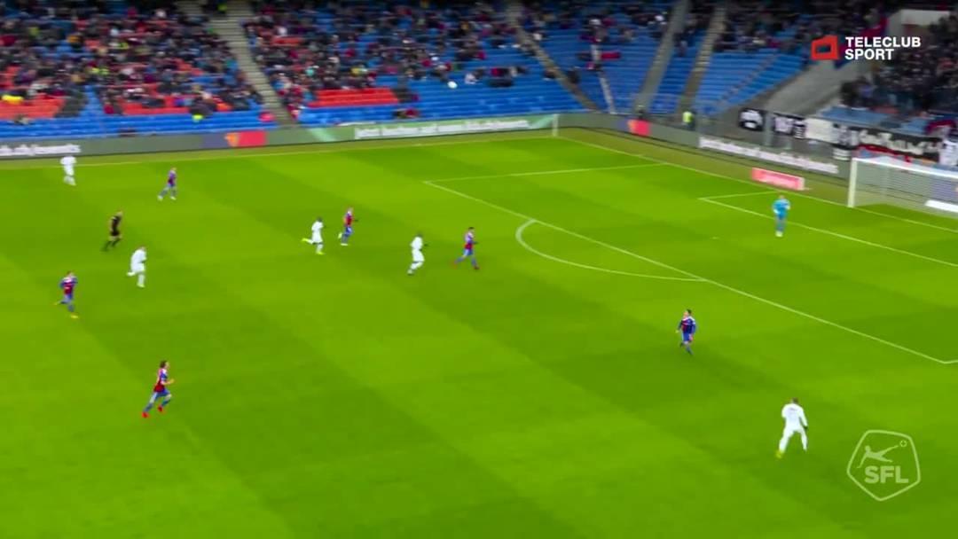 Super League, 2018/19, 32. Runde, FC Basel – FC Zürich, 18. Minute: Schuss von Marco Schönbächler.