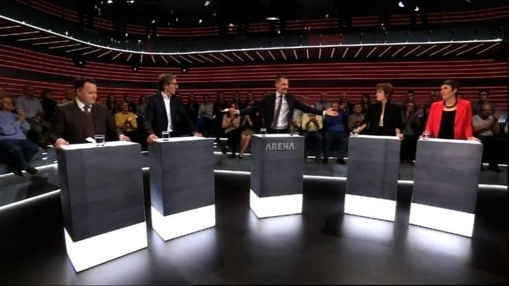 Die «Arena»-Gäste: (v.l.n.r.) Sebastian Frehner, Thomas Heiniger, Ruth Humbel und Barbara Gysi.