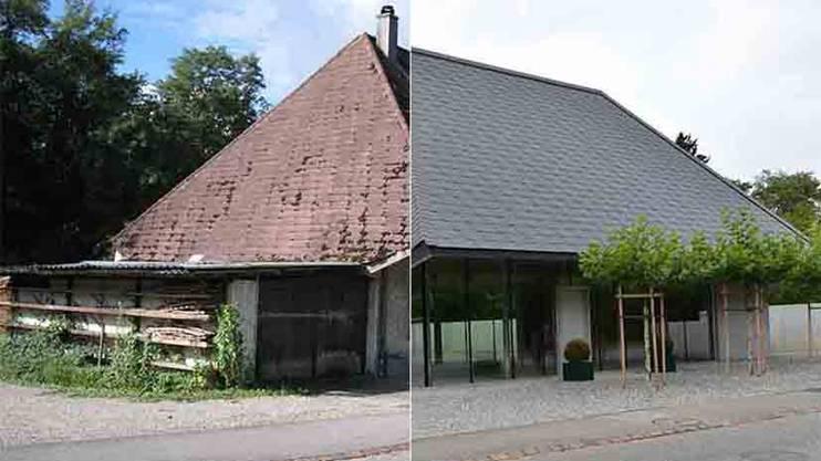 Das Hochstudhaus in Obergösgen früher und heute.