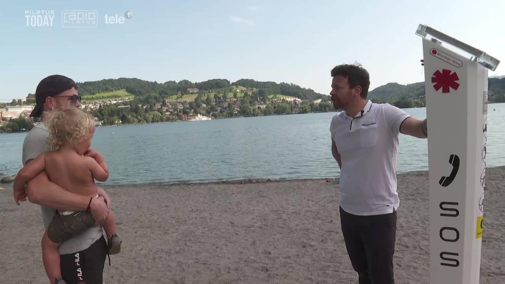 So reagieren Badegäste auf die neuen Notrufsäulen in Luzern