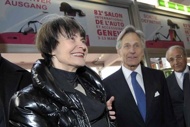 Bundespräsidentin Micheline Calmy-Rey und Autosalon-Präsident Luc Argand