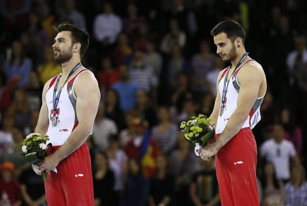 Oliver Hegi (l.) beim Gewinn der EM-Silbermedaille in Cluj zusammen mit seinem Teamkollegen Pablo Brägger.