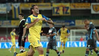 Chievos Davide Moscardelli bejubelt den Treffer des Abends