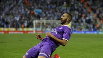 Karim Benzema jubelt nach seinem Tor zum 2:0 gegen Espanyol