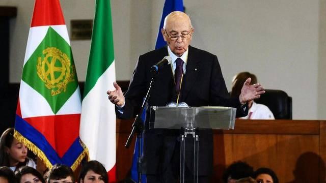 Georgio Napolitano spricht zum Todestag Giovanni Falcones in Palermo