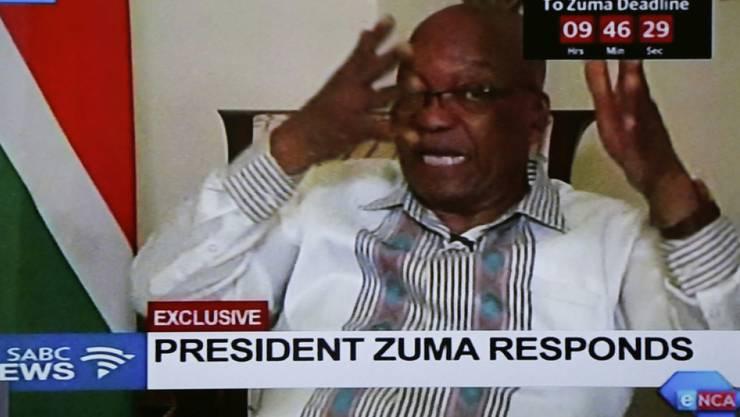 """Findet die ANC-Aufforderung zum Rücktritt """"unfair, sehr unfair"""": Südafrikas Präsident Jacob Zuma, hier in einer zuvor nicht angekündigten Live-Übertragung im staatlichen Fernsehen."""