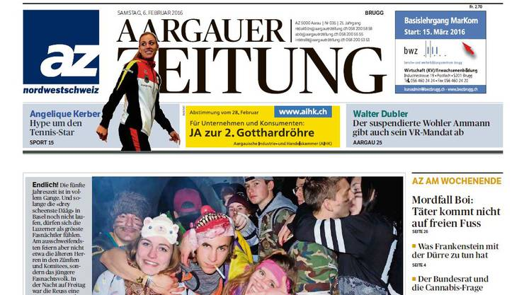 Die Ausgabe der heutigen Aargauer Zeitung konnte nicht vollständig gedruckt werden.