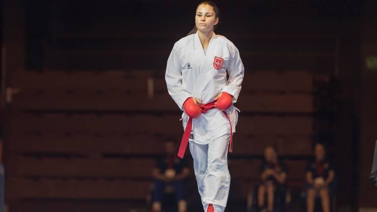 Elena Quirici, Karate-Europameisterin, kurz vor ihrem Final-Kampf.