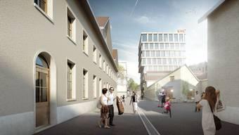 Die ehemaligen Shedhallen (links) bleiben erhalten, dahinter entsteht ein modernes Bürogebäude.