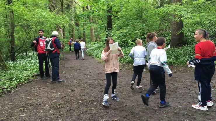 Schüler beim Orientieren im Schachenwald, 2019
