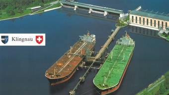 Supertanker auf dem Rhein: Auf einer Grusskarte stellte die Zurzibieter az-Redaktion vor 12 Jahren dar, wie sie sich einen Rheinhafen beim Klingnauer Stausee oberhalb der Aaremündung vorstellt. Fotomontage: AZ