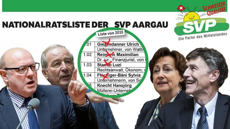 Die Senioren der SVP Ulrich Giezendanner, Luzi Stamm, Maximilian Reimann und Sylvia Flückiger müssen ersetzt werden.