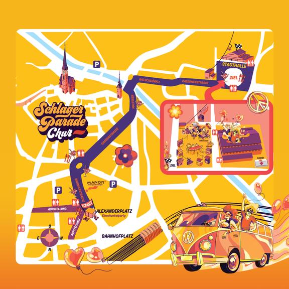 Die Route der Schlagerparade (Bild: schlagerparade.ch)