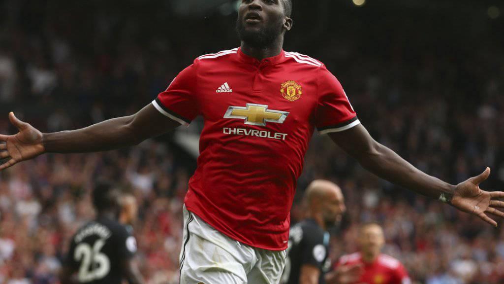 Romelu Lukaku leitete mit zwei Toren den Sieg von Manchester United ein