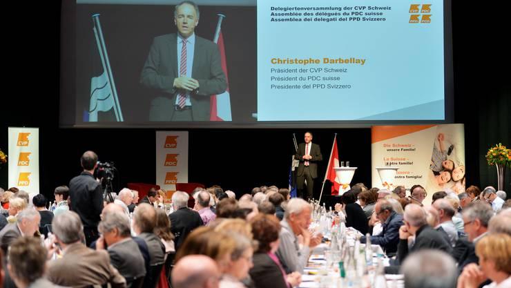 CVP-Parteipräsident Christophe Darbellay bei seiner Rede an der Delegiertenversammlung der CVP Schweiz in Brugg.