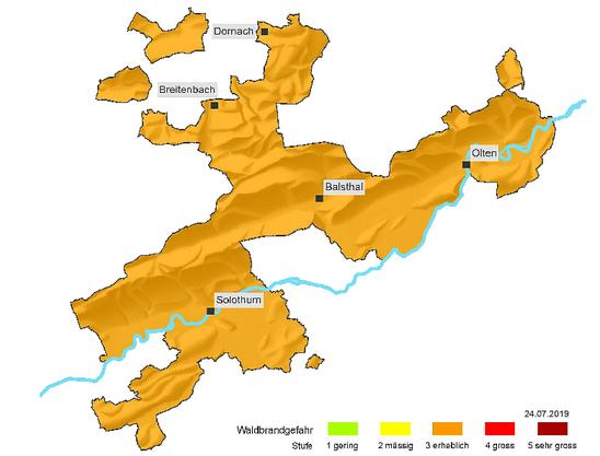 «Erheblich»: Lagebeurteilung zur Waldbrandgefahr im Solothurn am 24.Juli 2019