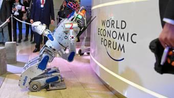 Die Roboter sind am diesjährigen WEF unübersehbar. Sie bieten auch Anlass für kontroverse Diskussionen um den künftigen Nutzen und die Risiken.