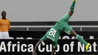 Nigerias Obinna Nsofor feiert seinen 1:0-Siegtreffer in der 55. Minute