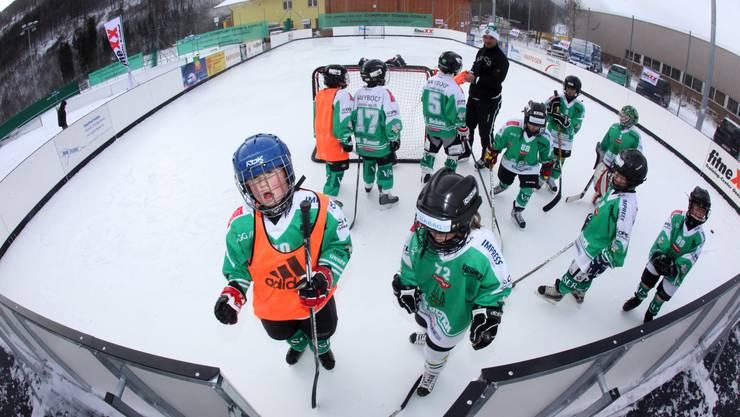 EHCO-Juniorentrainer Thomas Schöni und seine Piccolos demonstrieren, dass sich auch auf synthetischem Eis gut trainieren lässt.  hr. Aeschbacher EHCO-Juniorentrainer Thomas Schöni und seine Piccolos demonstrieren, dass sich auch auf synthetischem Eis gut trainieren lässt.  hr. Aeschbacher