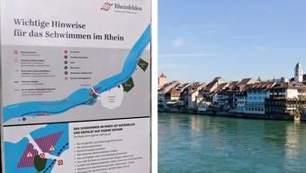 Die Stadt Rheinfelden und Gesundheitsforum machen mit Informationstafeln die Rheinschwimmer auf gefährliche Stellen im Fluss aufmerksam.