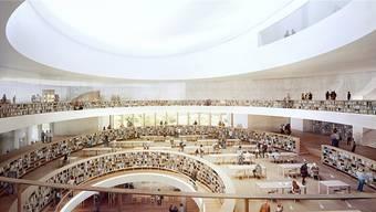 Eine Visualisierung des Inneren der Nationalbibliothek von Herzog und de Meuron.