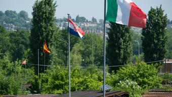 Verschiedene Landesflaggen wehen über Schrebergärten in Zürich