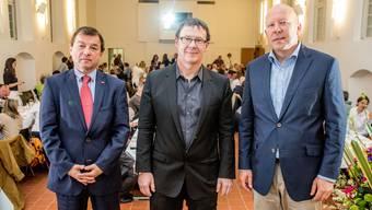 Region Solothurn Tourismus: René Hohl, abtretender Präsident; Jürgen Hofer, Tourismusdirektor; Michael Hug, neuer Präsident