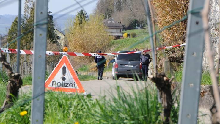 Heute Freitag steht die Polizei wieder am Schwändiweg in Klingnau im Einsatz - wieder hat ein Bürger einen Sprengkörper im Rebberg gefunden. (Archivfoto vom 22 März)