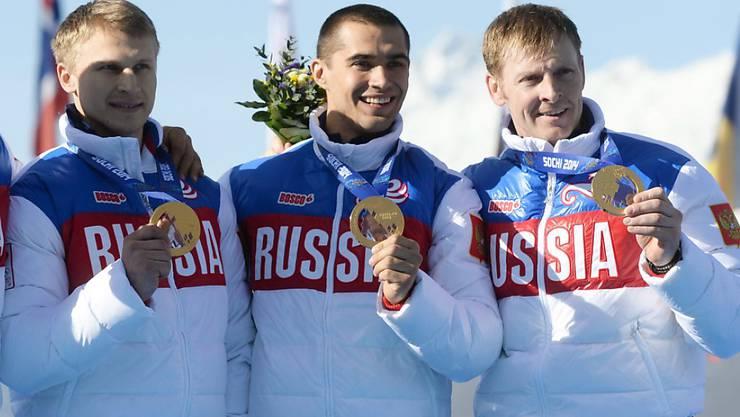 Alexander Subkow (ganz rechts) werden die Olympiasiege von Sotschi aberkannt