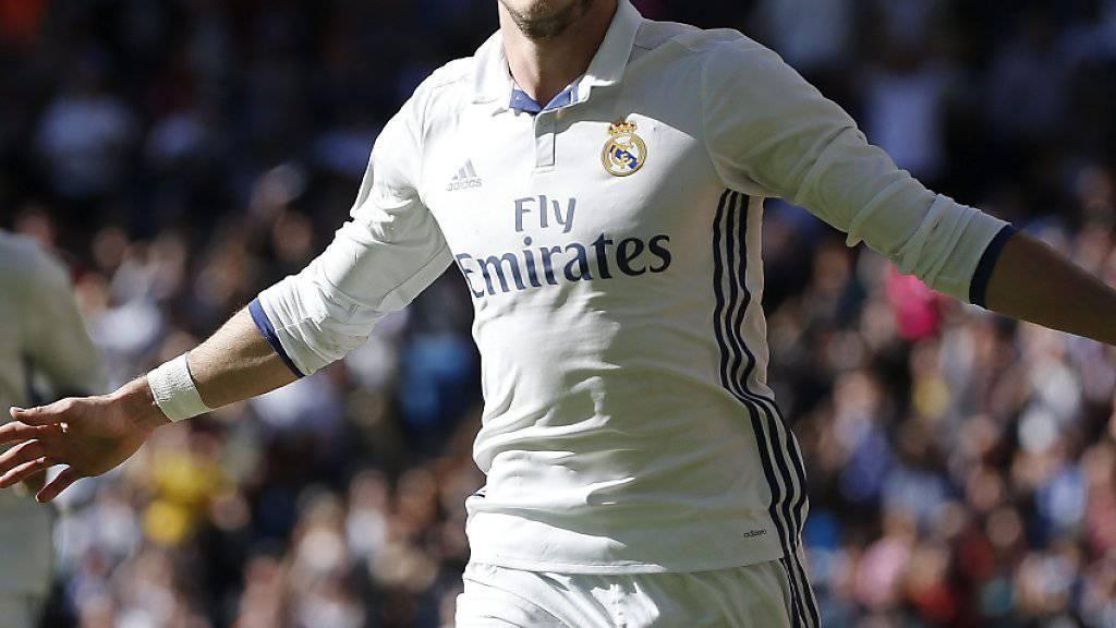 Gareth Bale feiert seinen Treffer zum 2:0