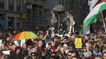 Demonstration im Zentrum von Madrid