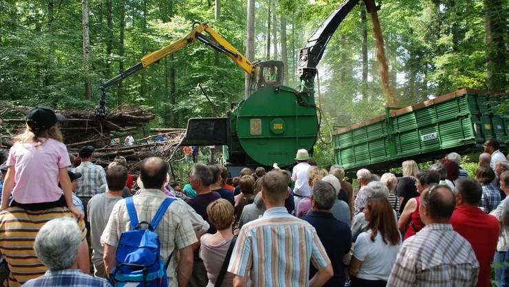 Der leistungsfähige Häcksler verarbeitet grosse Äste zu Holzschnitzeln.