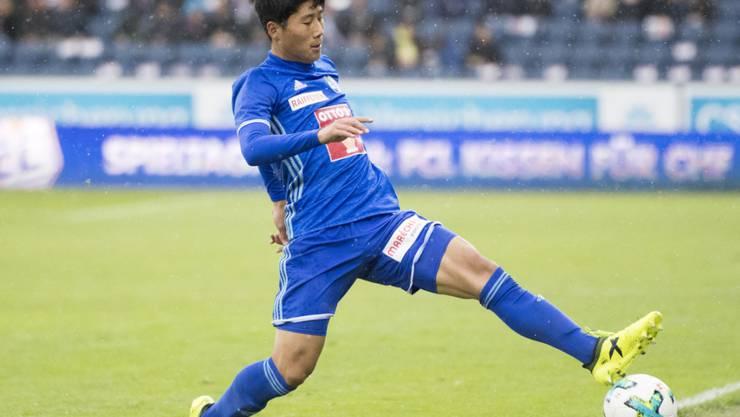 Der Nordkoreaner Jong Il-Gwan im Meisterschaftsspiel zwischen Luzern und den Young Boys im Einsatz