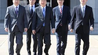Eine hochrangige südkoreanische Delegation unter der Leitung des Nationalen Sicherheitsberaters Chung Eui Yong (Mitte) verhandelt derzeit in Nordkorea über eine weitere Annäherung.