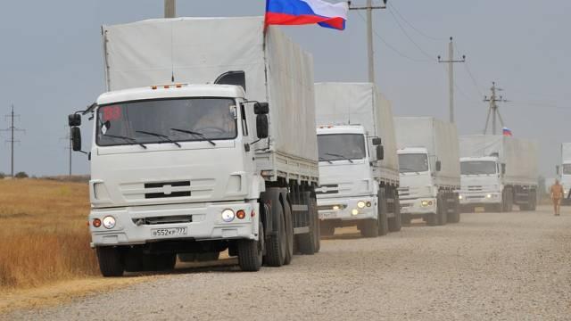 Ein Teil des neuerlichen russischen LKW-Konvois für die Ukraine