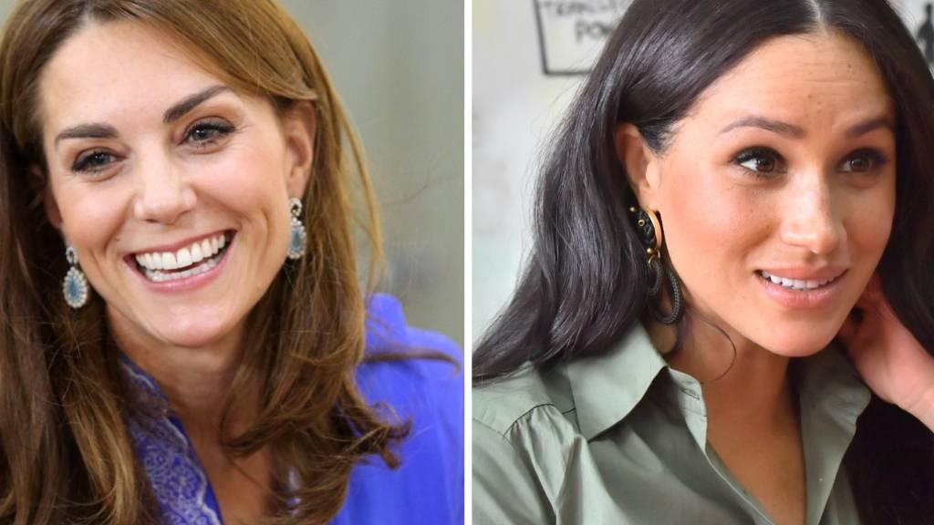 ARCHIV - Im Fokus: Die Herzoginnen Kate (l.) und Meghan. Foto: Ian Vogler/Mark Large/Daily Mirror/PA Wire/dpa