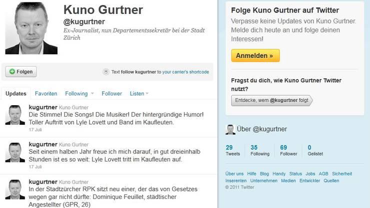 Das Twitter-Konto von Kuno Gurtner