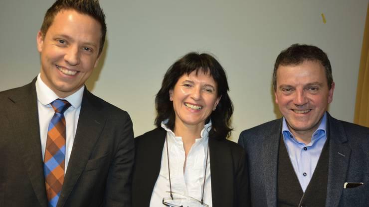 Nach dem Parteianlass: Diana Stärkle mit den SVP-Nationalräten Christian Imark (links) und Walter Wobmann.