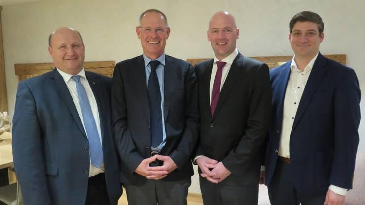 Von links: Peter Hodel, Stefan Nünlist, Markus Spielmann und David Plüss, die Nominierten für die eidgenössischen Wahlen. Es fehlt Reto Grolimund.