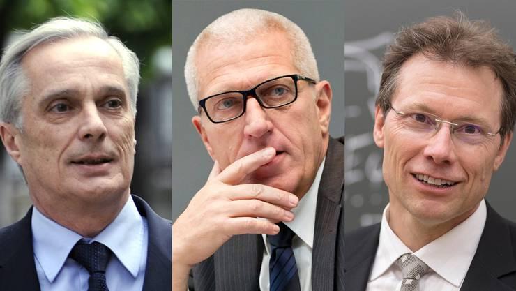 Lorenzo Erni (l.) verteidigt Pierin Vincenz (M.) und trifft vor Gericht auf den Zürcher Staatsanwaltschaft Jean-Richard-dit-Bressel. Die beiden haben eine Geschichte.