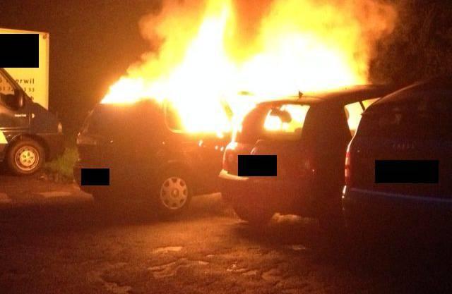 Das brennende Auto stand auf einem Parkplatz an der Brunnmattstrasse in Therwil.