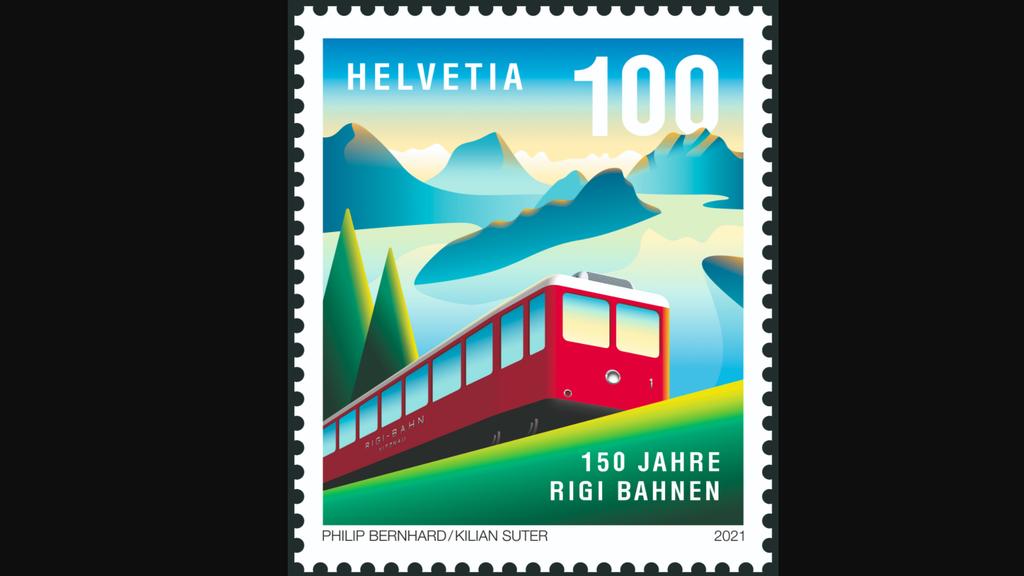 Die neue Briefmarke zum Jubiläum der Rigi Bahnen.